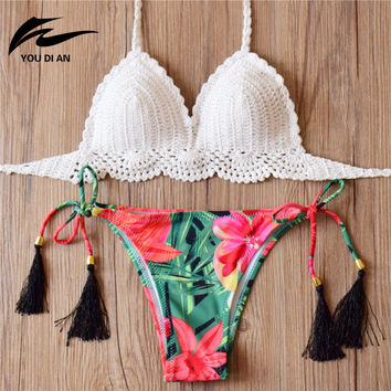 2016 Knitted Swimsuit follwer bikini femme Sexy bikini set Swimwear women summer dress Handmade Swimsuit Brazilian biquini