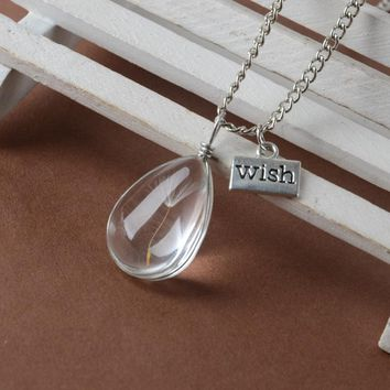 Womens Real Dandelion Seeds In Glass Wish Bottle Necklace - Free Shipping