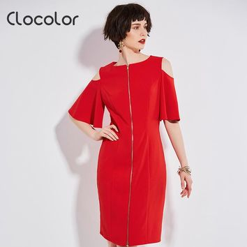 Clocolor Women Dress 2017 New Straight Brief Flare Sleeve Party Shopping O Neck Hollw Out Red Knee Length Dresses Summer Dresses