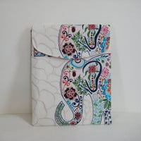 iPad Sleeve Padded with Flap in Colorful Elephant by moxiebscloset