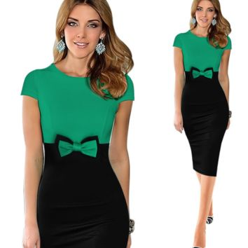Fashion women's wear cute dress with round collar and short sleeves, butterfly knot and elastic hip-wrapped pencil