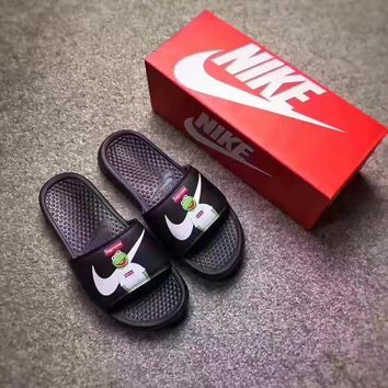 Sale Supreme x NIKE Frog Flip Flop Sandals Men Women Black Slipper