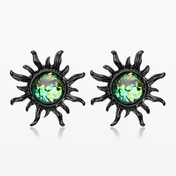 A Pair of Blackline Blazing Sun Opal Sparkle Stud Earrings