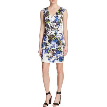 French Connection Womens Kiki Palm Sheath Printed Casual Dress