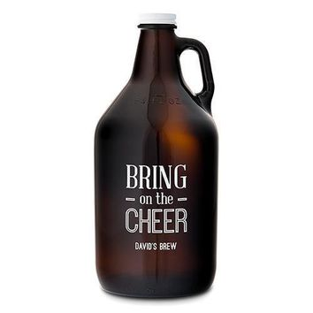 Personalized Glass Beer Growler - Bring on the Cheer Print (Pack of 1)