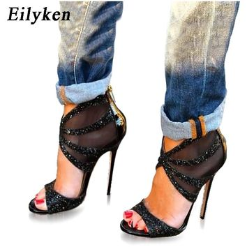 Eilyken Women Sandals High Heels Bling Crystal Design Sexy Open-toe d Gladiator High Heels Zip Party Shoes size 35-40