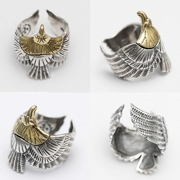 925 Sterling Silver Indian Flying Eagle Retro Open Ring Adjustable Size Men's Jewelry Women's Jewelry