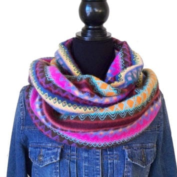 Warm Infinity Scarf, Brightly Colored Infinity Scarf, Winter Scarf, Chunky Scarf