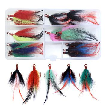 15pcs High Carbon Steel Fishing Treble Hook With Feather Dressed Fishing Red Treble Hooks Saltwater Hooks Size 2#