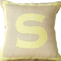 Personalized Monogram throw pillow- Burlap pillows- Yellow cotton monogram cushion - cotton applique - Decorative throw pillow- 18x18 pillow