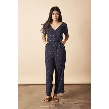 Baby Cacti Cropped Jumpsuit in Navy + Cream
