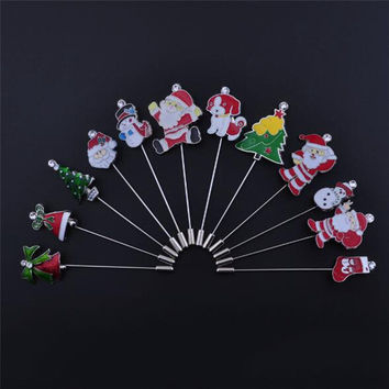 New Christmas Stick Brooch Pin Hat Rhinestone Snowman Santa Claus Lapel Pins Sticks for Suits For Xmas Gift Jewelry