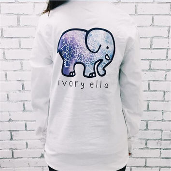 2017 Spring New Harajuku Ivory Ella T shirt Women girls Print Cute Animal Elephant TShirt Summer Plus Size Long Sleeve Crop Top