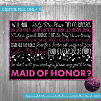 "Ask Maid of Honor Proposal Cards - ""Sparkle"" (Printable File Only) Be My Bridesmaid Be In My Wedding Ask Bridesmaid"