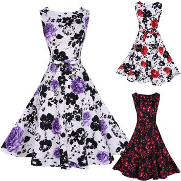Womens Elegant Vintage Floral Print Sleeveless Rockabilly 1950s Retro Evening Party Gown Swing Pleated Dress = 5738862785