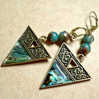 Blue Green Apatite and Paua Shell Antique Brass Dangle Earrings | KatsAllThat - Jewelry on ArtFire