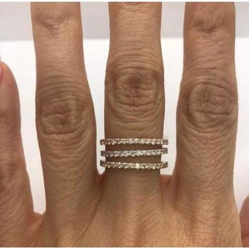 Rose Gold Diamond Band - Extra Sparkly 26 Diamonds 0.39 Ctw Stacking or Wedding Band