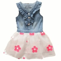 Baby Girls Toddler Clothes Denim Top Sun Flower Princess Tutu Dresses Skirt 0-4y