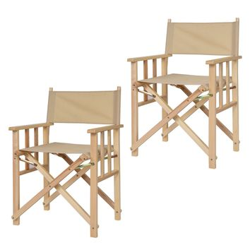 "34"" Set Of 2 Folding Makeup Director Chairs Wood Camping Fishing Beige"