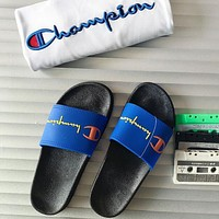 CHAMPION 2018 new men and women couple models casual sports slippers F0444-1 Blue