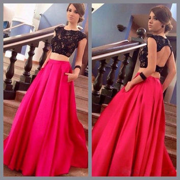 A-Line Two Piece Backless Long Prom Dresses Evening Dresses