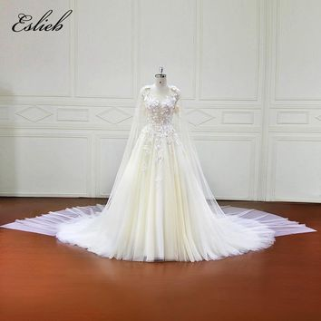Eslieb Vestidos de Noiva A-Line Luxury wedding dress 2018 Long Sleeves Wedding Dresses Tulle Appliques Illusion Beach XF17056
