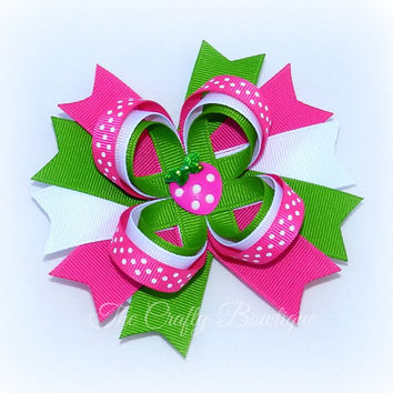 Strawberry Loopy Bow ~ Pink Strawberry Bow ~ Pink & Green Bow ~ Large Strawberry Bow ~ Pink Polka Dot Bow ~ Polka Dot Loopy Bow ~ Polka Dots