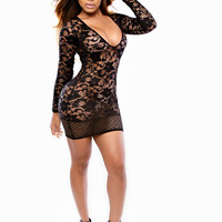 Black V-Neck Long Sleeve Lace Bodycon Mini Dress
