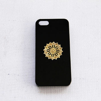 Gold iPhone 5 Case Simple iPhone 5 5s Case Mandala iPhone Case iPhone 4 4s Hippie Case Galaxy S3 S4 S5 Hippie Case Gold Mandala Psychedelic