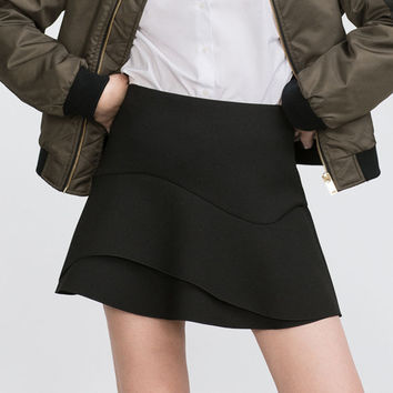 Black Zippered Mini Skirt