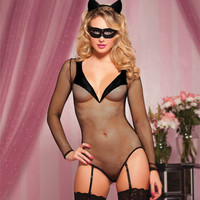 Women See-Through Mesh Sexy Spagehetti Strap Erotic Catwoman Costume Roleplay Cosplay Drama Uniform _ 2565