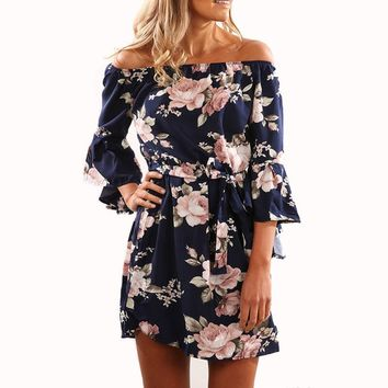Flare Sleeve Off Shoulder Women Dress Floral Print Slash Neck Half Sleeve Mini Dresses Casual Sashes Summer Dress Vestidos