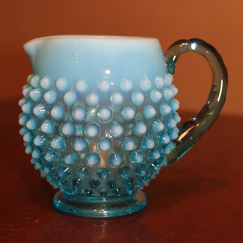 Stunning Fenton Blue Glass Hobnail creamer in excellent vintage antique 1920's