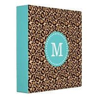 Turquoise and Girly Leopard Print Custom Monogram Binders