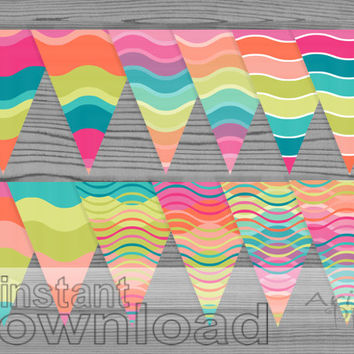 rainbow party banner, printable decoration, wavy, striped, rainbow colors, 1 flag per sheet print and cut ,birthday, baby shower, welcome,