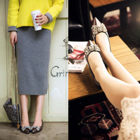 Pointed Toe Butterfly Rhinestone Flat Silver Leather Shoes [4920606148]
