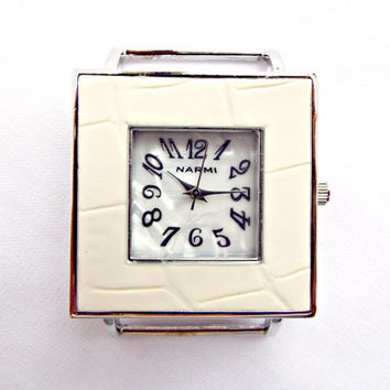 White Watch Face, Square White Watch, Watch Making, Square Watch Face, 1.72 x 1.25in, Solid Bar Watch Face in White Faux Leather Style