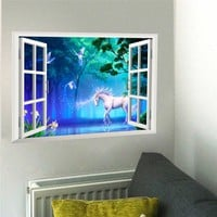 3d effect window Unicorn Horse Wall Stickers for Kids Rooms Living Room Bedroom Wall Decal Art Poster Mural Sofa Wall Decoration