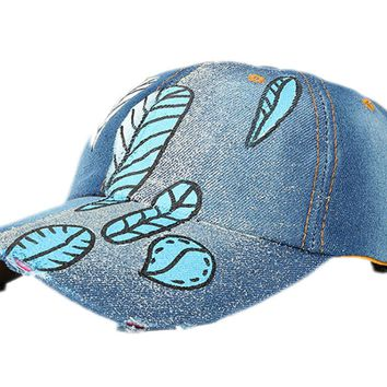 New Hand Painted Leaves Denim Cowboy Hats