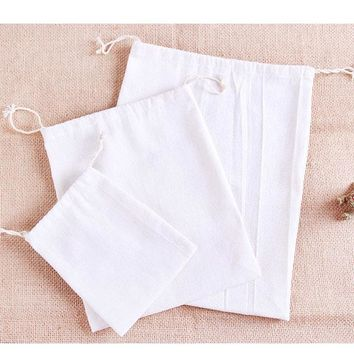White Cotton Gift Bag 8x10cm 9x12cm 10x15cm 13x17cm pack of 50 Wedding Favor Holder Makeup Jewelry Pouch