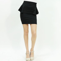 Sexy peplum stretchy bodycon mini skirt black