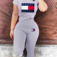 TOMMY New fashion letter print top and pants two piece suit Gray