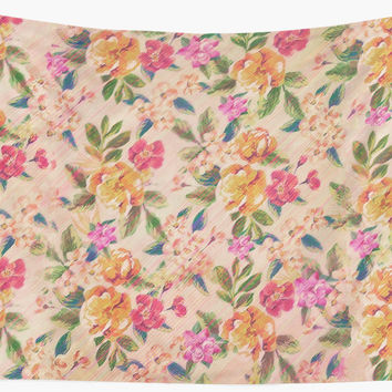 ' Golden Flitch (Digital Vintage Retro / Glitched Pastel Flowers - Floral design pattern)' Wandbehang by badbugs