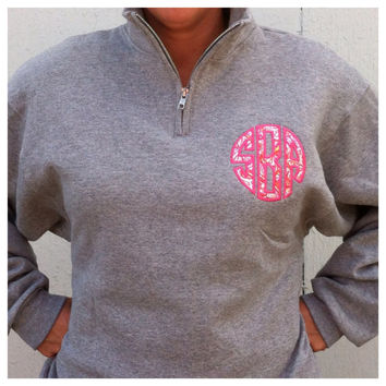1/4 Zip Sweatshirt with Round Appliqued Monogram with Lilly Pulitzer Fabric