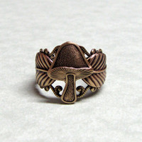 Woodland Forest Wild Mushroom Ring by ranaway on Etsy