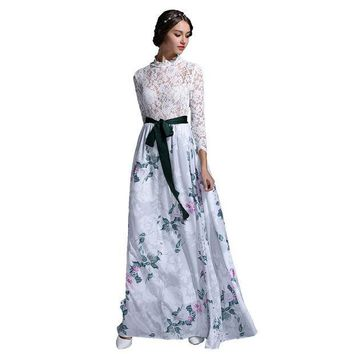 PEAPUNT HIGH QUALITY New Fashion 2016 Designer Runway Maxi Dress Women's Long Sleeve Lace Patchwork Brief Print Celebrity Long Dress