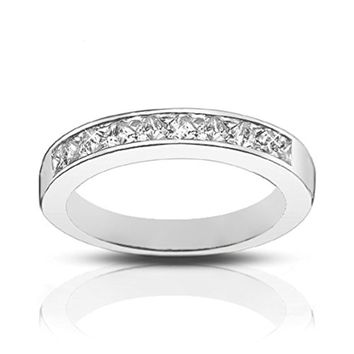 CERTIFIED 1.00 Ct Ladies Princess Cut Diamond Wedding Band Ring in 14 kt White Gold