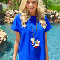 Bring it Back Blouse- Royal Blue