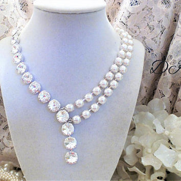 Swarovski Bridal Necklace, Crystal, Pearls, Custom, Unique Style, 12MM, 8MM, Adjustable, DKSJewelrydesigns, FREE SHIPPING