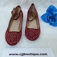 Zunibel Burgundy Flat Shoes - Qupid